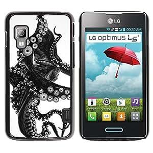 iKiki Tech / Estuche rígido - Black White Photo Tentacle Monster - LG Optimus L5 II Dual E455 E460