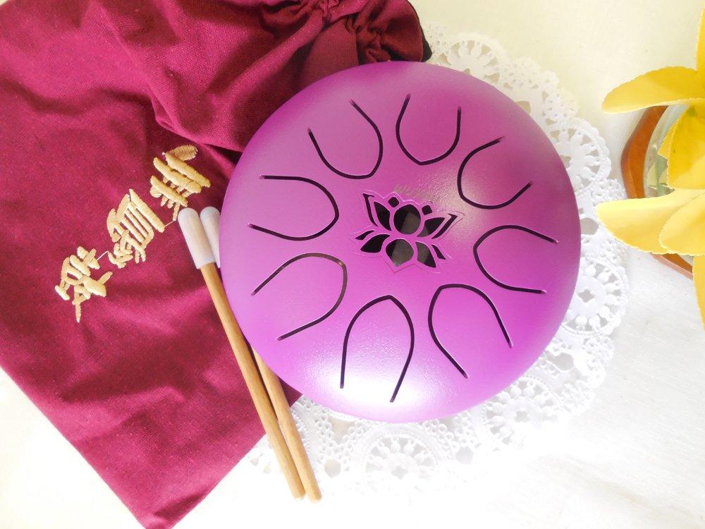 Tongue Drum Steel Hand Drum Gentle Healing Sound, Wuyou 7in UFO Lotus Symbol Musical Instrument Percussion, Purple, C tone