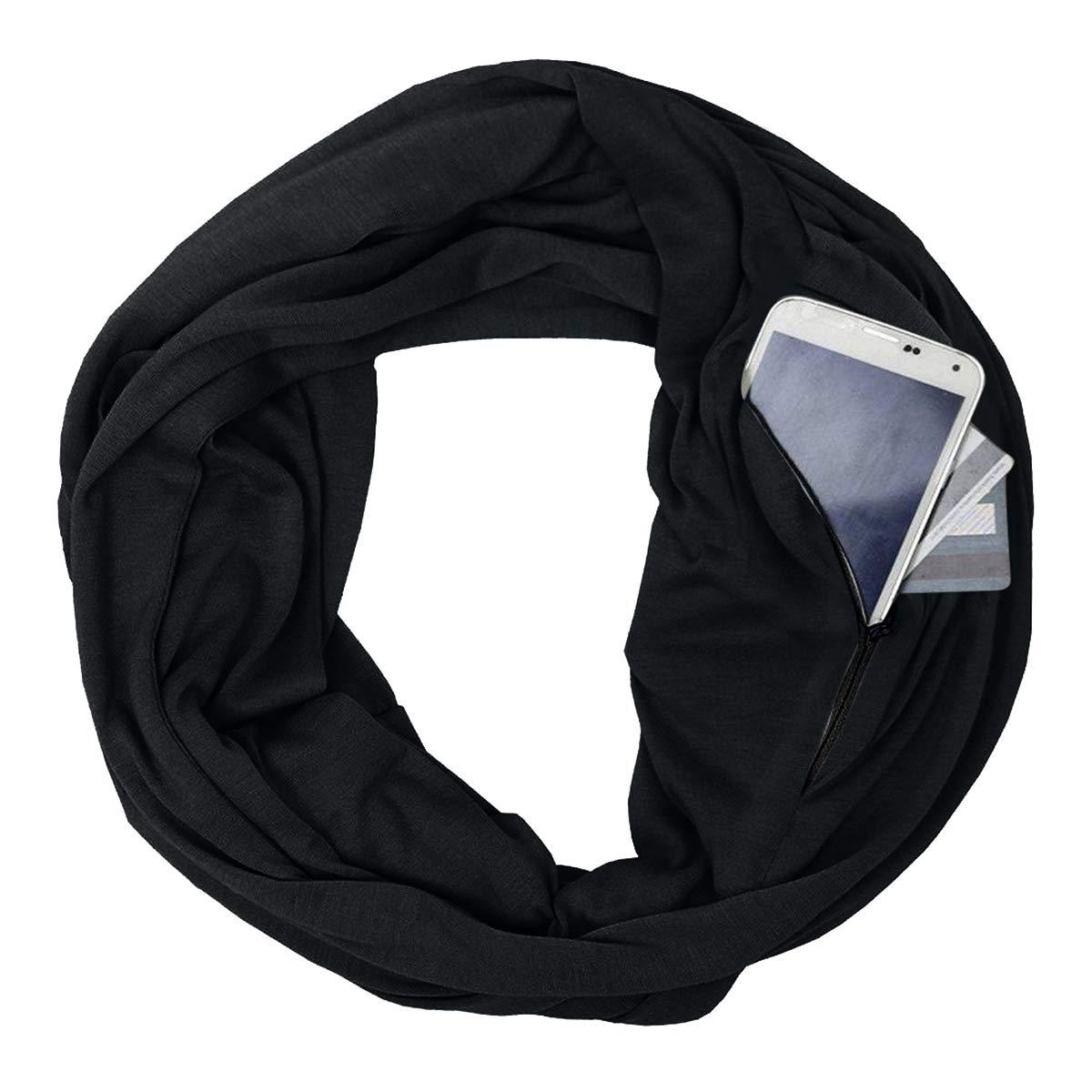 Blacka Fashion Scarves for Women, Girls, Ladies, Infinity Scarf with Zipper Pocket Pattern Print Lightweight Wrap