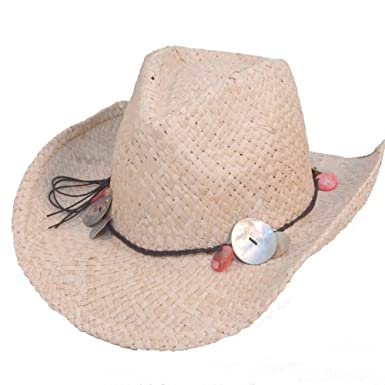 e67935ca0e5 JMC Trading Company Ladies Straw Cowboy Hat With Shell Band - 57CM ...