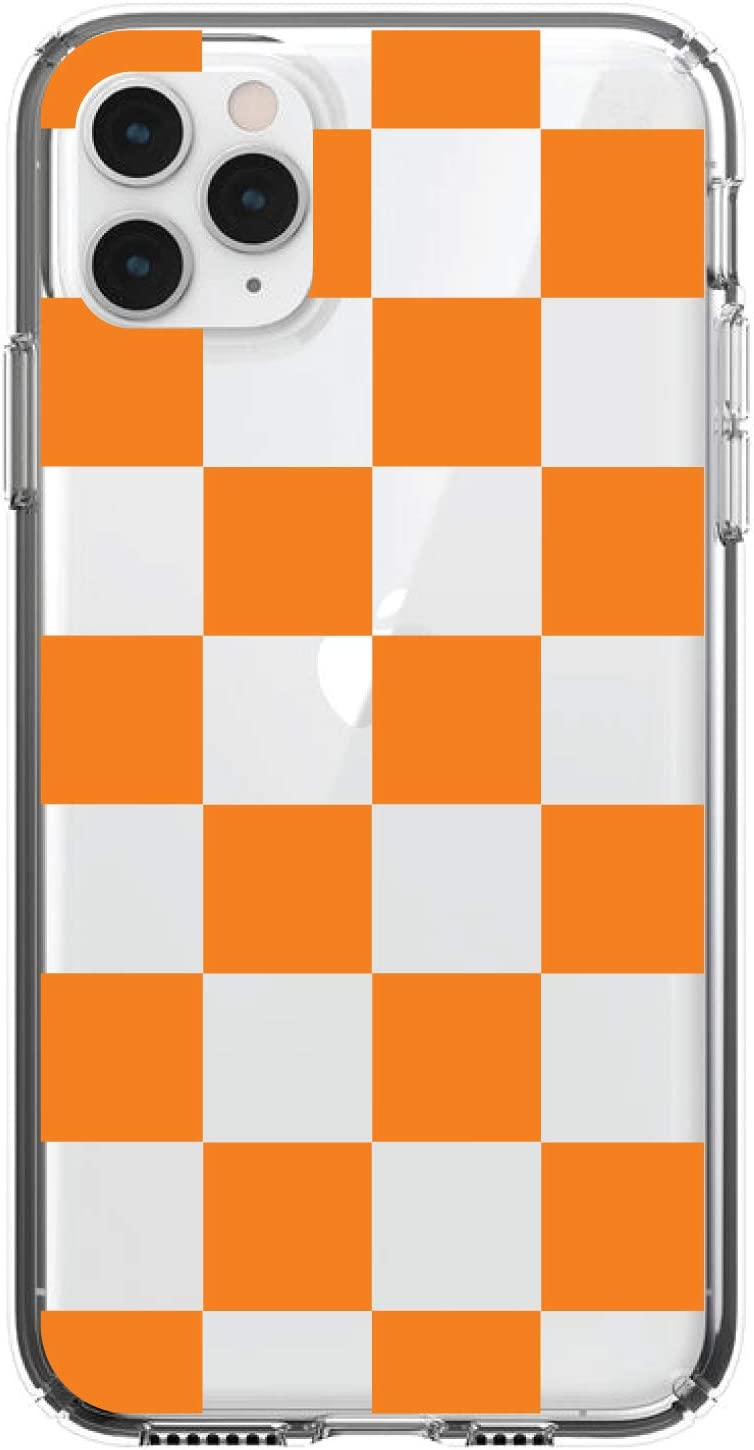 - TPU Bumper Tempered Glass Screen Protector Acrylic Back Orange DistinctInk Clear Shockproof Hybrid Case for iPhone 11 Pro Clear 5.8 Screen Tennessee Checkerboard