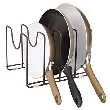 platzsparender St/änder f/ür Kochgeschirr aus Metall bronzefarben Deckel und Pfannen mDesign Geschirrst/änder f/ür Kocht/öpfe kompakter Pfannenhalter f/ür den K/üchenschrank