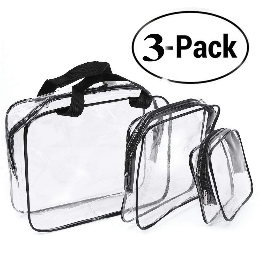 Clear Toiletry Bag, Transparent Makeup HandBag Waterproof, Cosmetic Organizer Pouch with Security Zipper for Travel, 3 Set Bags