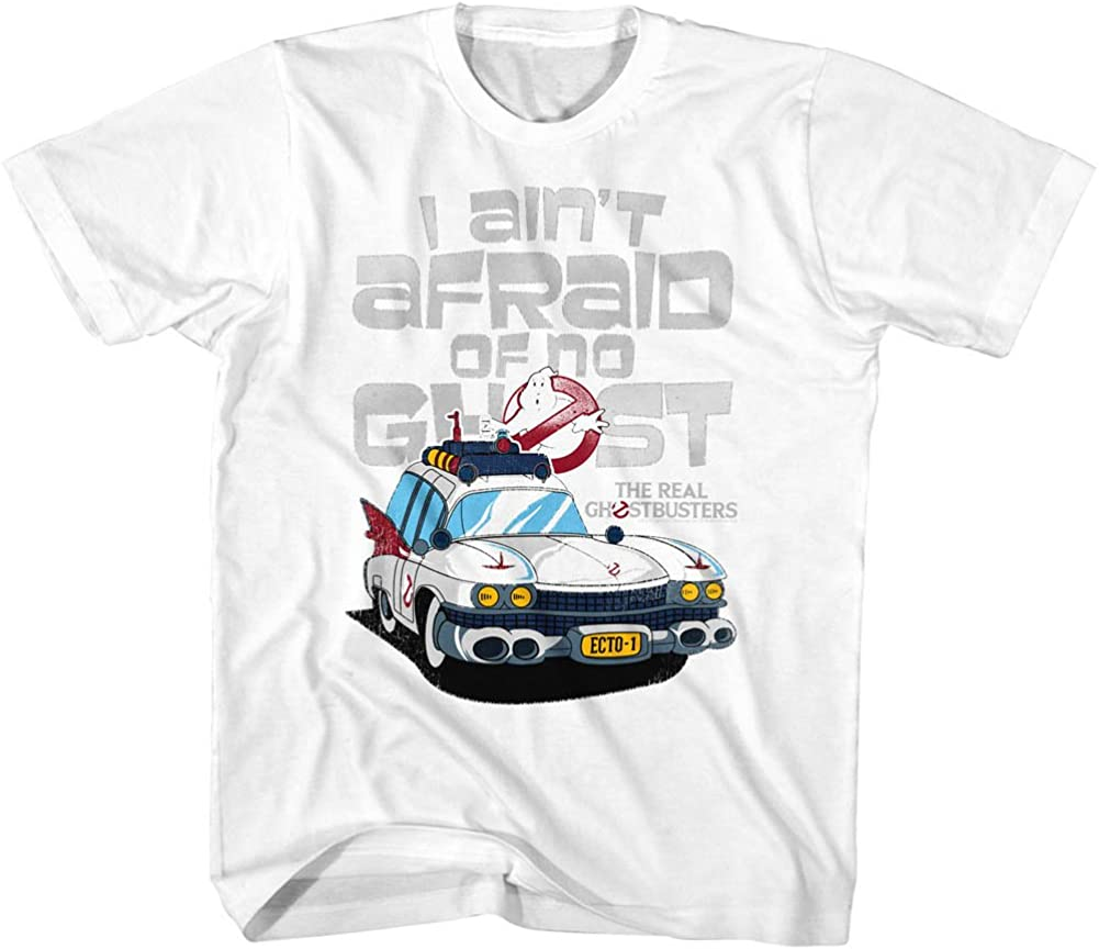 The Real Ghostbusters T-Shirt Ecto 1 Ain/'t Afraid White Tee
