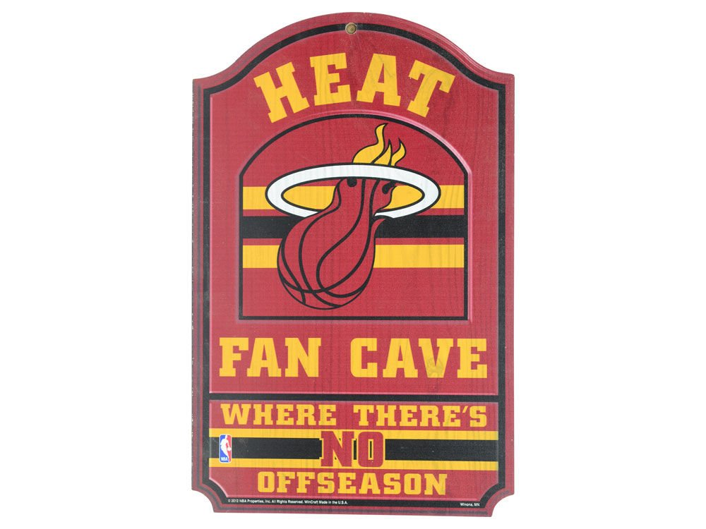 WinCraft NBA Miami Heat 33185012 Wood Sign, 11'' x 17'', Black