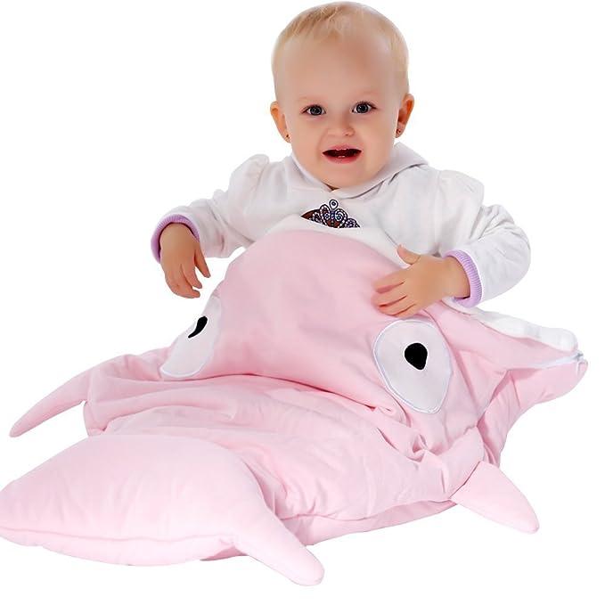 Baiter Shark Bites - Saco de dormir para bebé recién nacido sacos de dormir muselina manta cochecito cama infantil suministros rosa rosa Talla única: ...