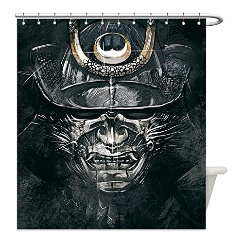 Liguo88 Custom Waterproof Bathroom Shower Curtain Polyester Japanese Decor Collection Fearful War Mask Facial Armour of Samurai Asian Medieval Culture Horror Spooky Theme Black Grey Decorative bathro - Asian Horror Costume