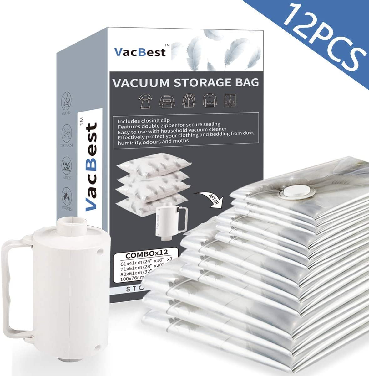 VacBest Vacuum Storage Space Saver Bags 12 Combo (3 Small, 3 Medium, 3Large + 3 Jumbo) with a Powerful Electric Pump for Travel and Household Usage