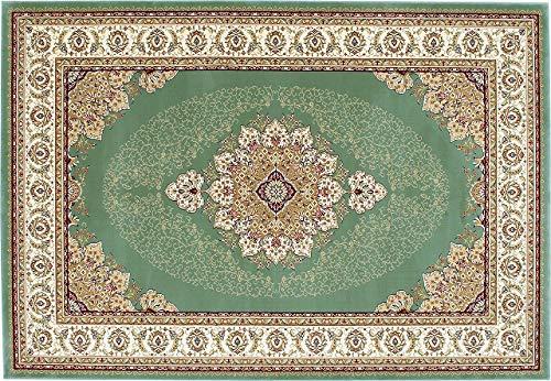 エレガントで 美しい 輸入 ウィルトンカーペット 約160×230cm グリーン(GN) p-chatelet-160230 prevell プレーベル 輸入カーペット 輸入絨毯 防炎 遊び毛防止 ベージュ グリーン beige green B07MK4CFS7 グリーン(GN) 約160×230cm