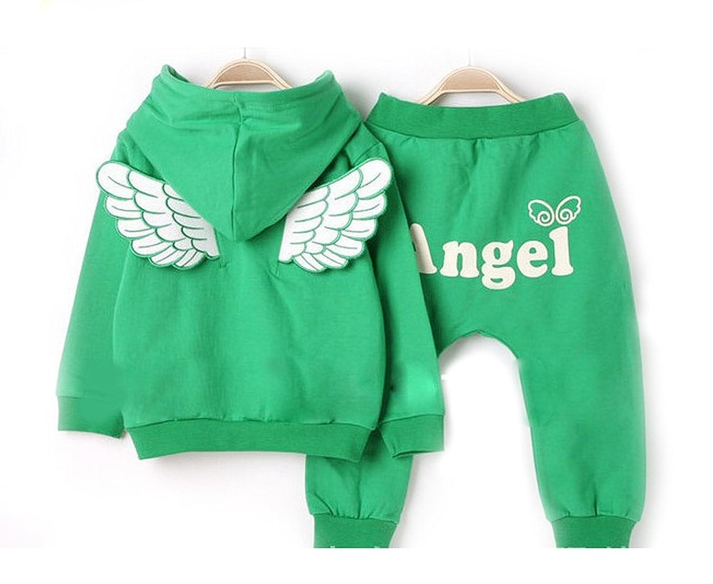 SOPO Girls Kid Angle Wing 2 Piece Set (Hoodie Shirt, Pants) Fall wear 2-6Y Green