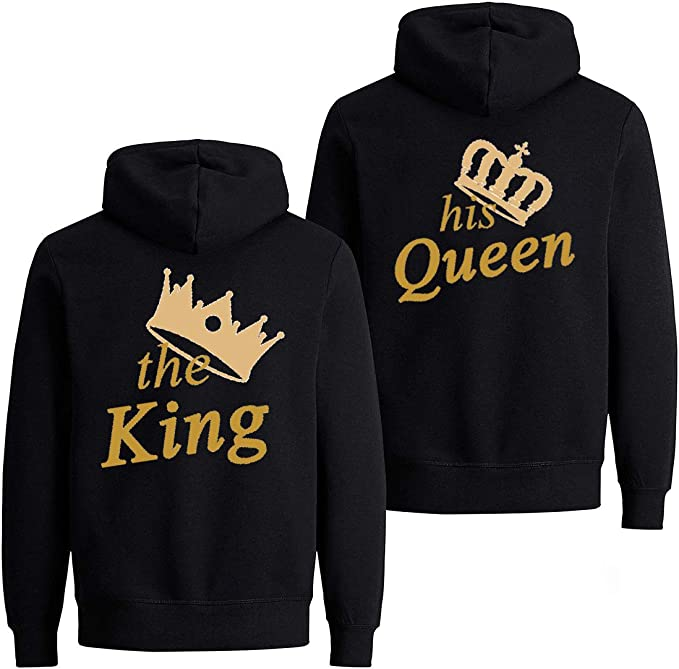 Daisy for U Felpa con Cappuccio King Queen Pullover 1 pi/èces
