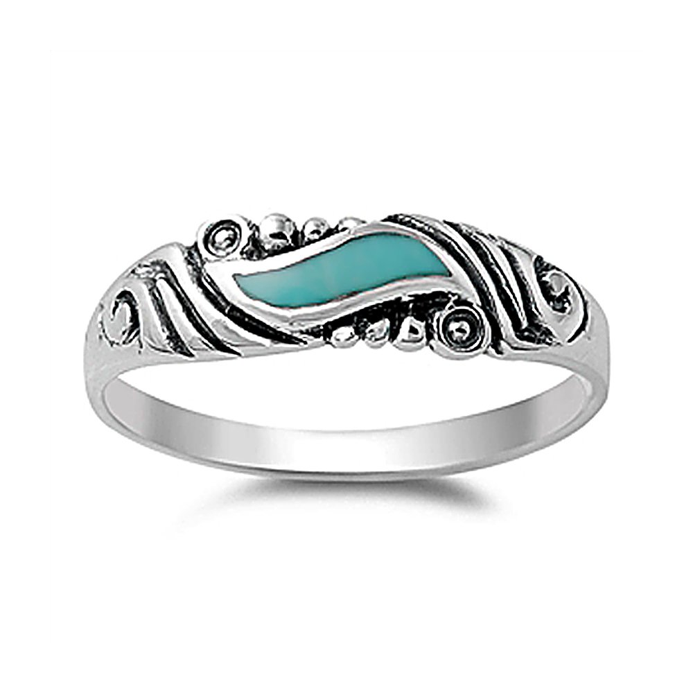 Sterling Silver Simulated Turquoise Vintage Style Wedding Band 5mm ( Size 4 to 10 ), 8
