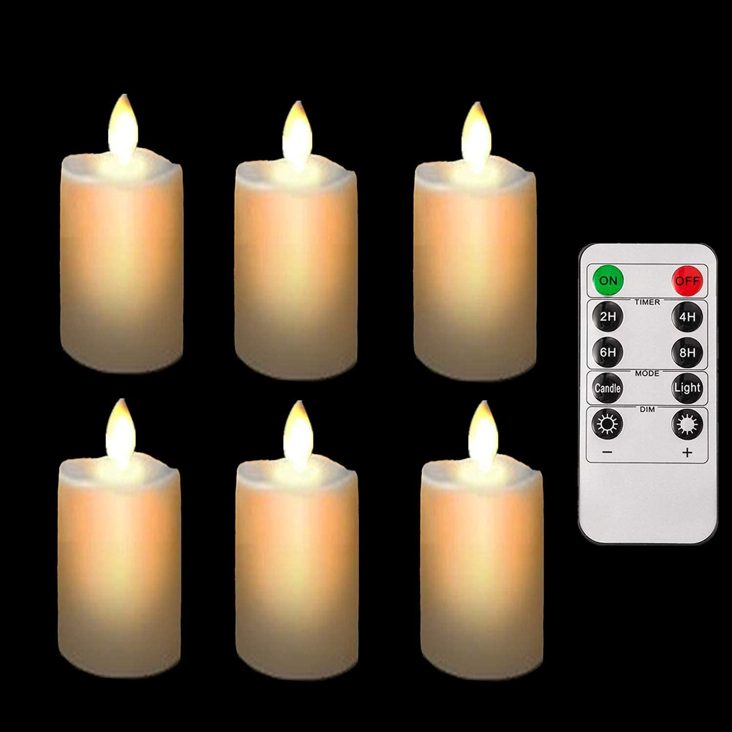 Remote Battery Operated Led Tea Lights Flameless Fake Tealight Candles Flickering Candle Light with Timers for Wedding Decorations Outdoor Decor【6 Pack】