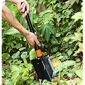 Survival Shovel - Folding Shovel with Pick Axe, Saw, and Fire Starter for Hiking, Camping, Entrenching, and Backcountry (Black with Fire Starter)