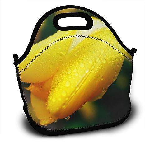 cf9c3f78b2ea Amazon.com  Print Yellow Tulip Backpack Lunch Bag Reusable Insulated ...