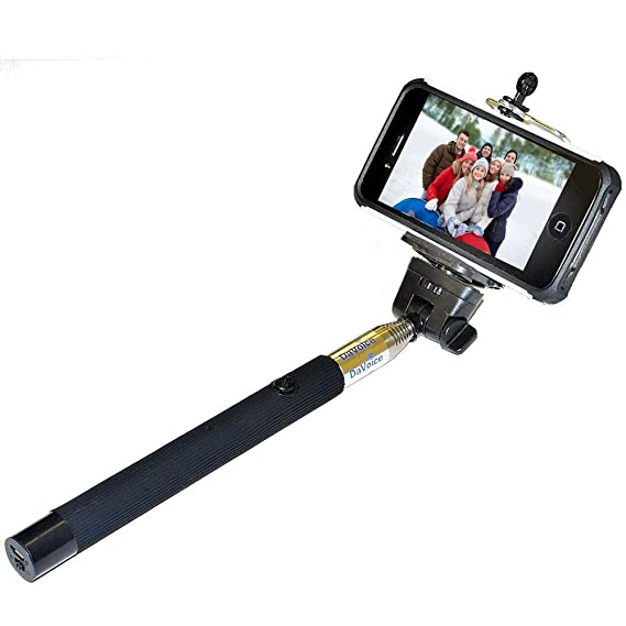 b4b01c58df9682 DaVoice Selfie Stick with Built-in Bluetooth Remote, Cell Phone Selfie Stick  with Remote