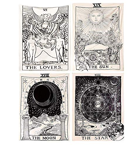 Tarot Tapestry, The Moon, The Star, The Sun, The Lovers, Wall Hanging Tapestries, Mysterious Wall Tapestry for Home Decor,(Pack of 4, 51