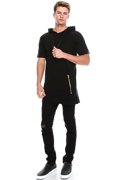 97062ed9f JC DISTRO Men's Hipster Hip Hop Back-Zip Extended Elong Zipper Fashion Hoodie  Sweatshirts at Amazon Men's Clothing store: