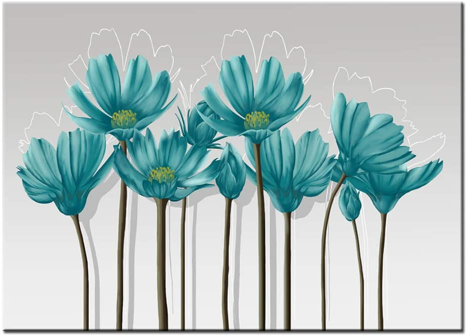 """Visual Art Decor Teal Grey and White Abstract Floral Canvas Wall Art Pictures Beautiful Flowers Painting Printed on Canvas for Living Room Office Wall Decoration Ready to Hang (01 Green, 16""""x20"""")"""