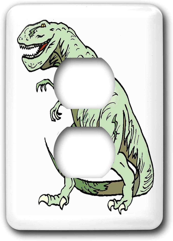 3drose Lsp 41563 6 Green T Rex Dinosaur 2 Plug Outlet Cover Outlet Plates