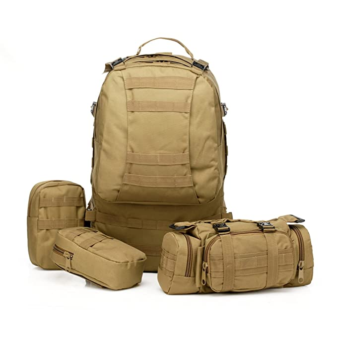 Large 50L Tactical Molle Backpack with 3 MOLLE Bags Military Rucksacks 3 Day Assault Pack Bug Out Bag Outdoor Combat Backpack Survival Trekking Bag for Hiking Camping
