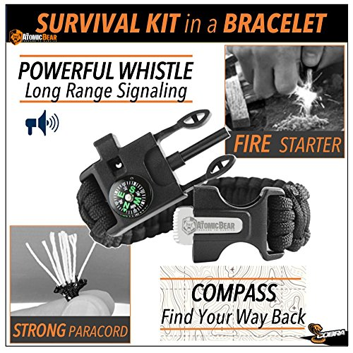 Review Paracord Bracelet (2 pack) – Tactical and Survival Gear Kit – Adjustable Size – Fire Starter – Loud Whistle – Emergency Knife – Perfect for Hiking, Camping, Fishing and Hunting – Black & Black+Orange