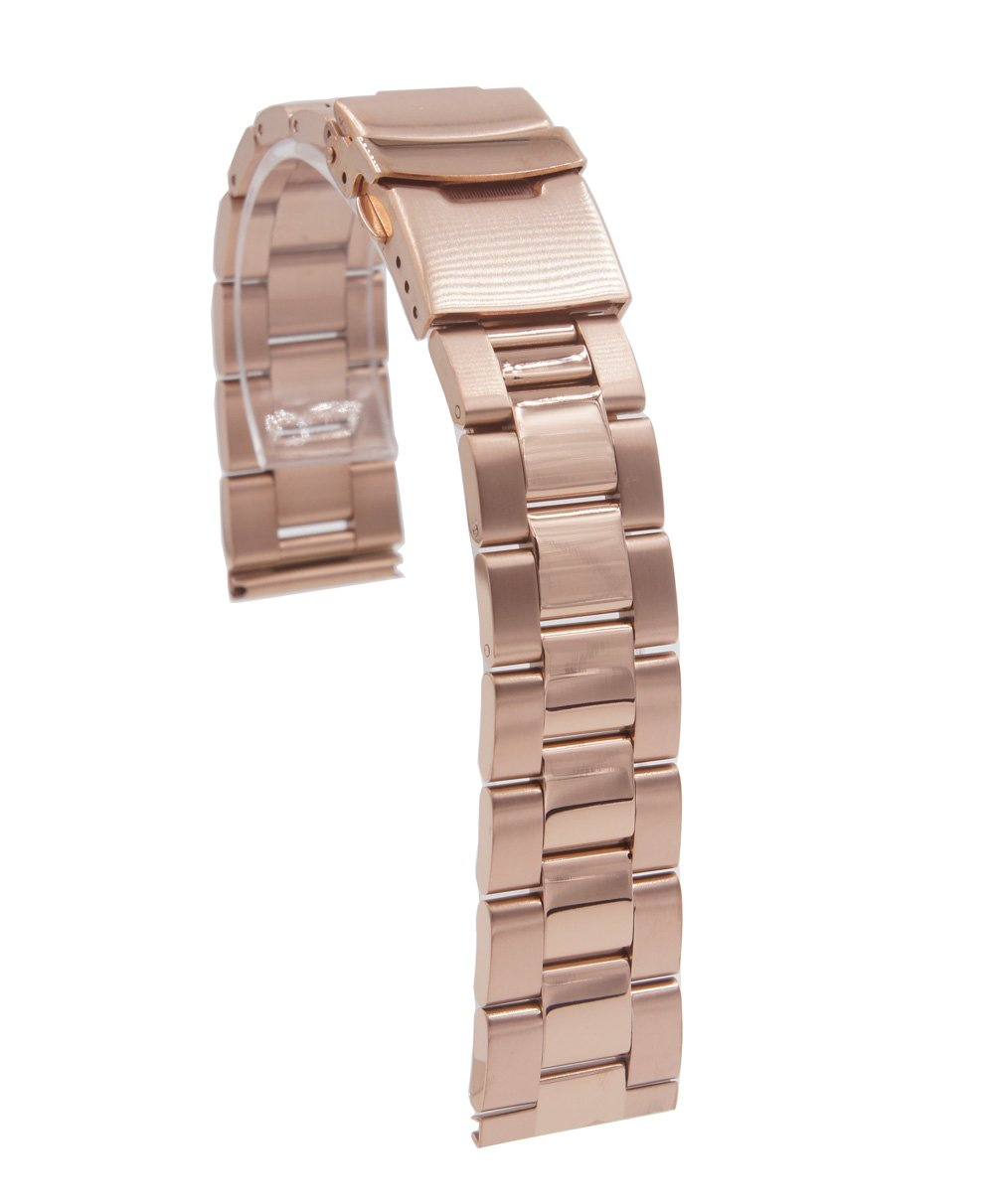 @ccessory 20mm Stainless Steel Bracelet Watch Band Strap for Samsung Gear S2 Classic Rose Gold SM-R7320ZDAXAR (Rose Gold A)