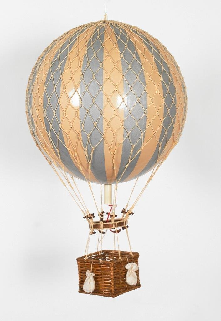 Authentic Models Holiday Hot Air Balloon Decoration (12'', Silver and Ivory)