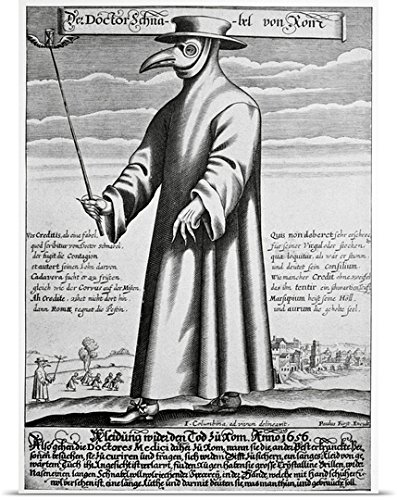 Bubonic Plague Mask (Great BIG Canvas Poster Print entitled Plague doctor, 17th century artwork)