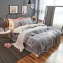 DGXSG Princess Style Bedding Set Comforter Set Supreme Plush Velvet Cotton Sweater and Microfiber Blend Duvet Cover Sets Hypoallergenic and Wrinkle Home Textiles Grey King L