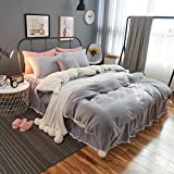 Thicken Cashmere Bedding Sets Flannel - 100% Polyester Bed Skirt with Pompons Princess Room Decorations Girls Gift Pure Grey Queen