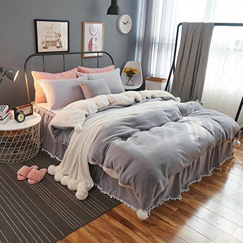 DGXSG Princess Style Bedding Set Comforter Set Supreme Plush Velvet Cotton Sweater and Microfiber Blend Duvet Cover Sets Hypoallergenic and Wrinkle Home Textiles Grey King by DGXSG