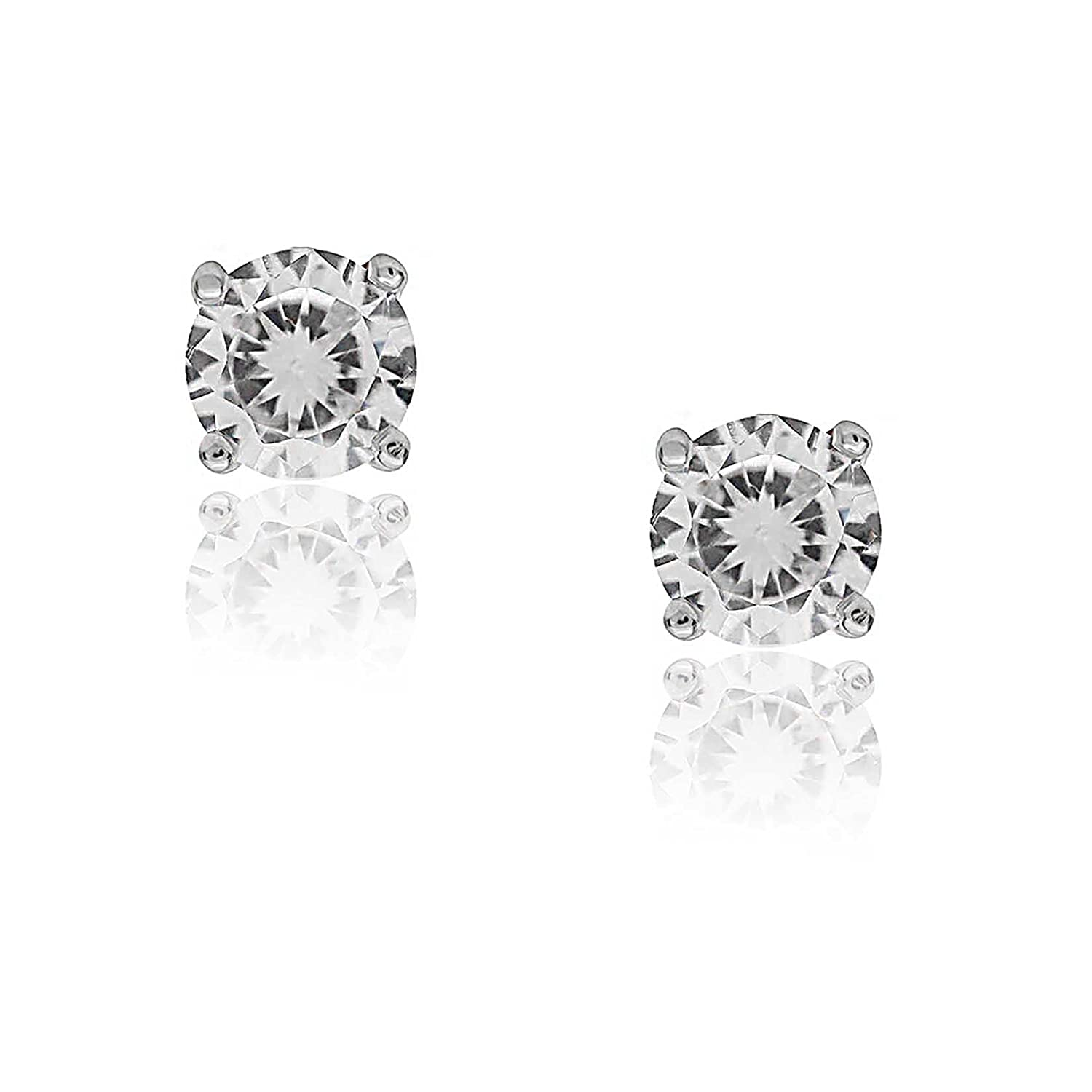 5d43aadbb Amazon.com: Kezef Creations 925 Sterling Silver CZ Stud Earrings with 3mm Round  White Cubic Zirconia Gemstones: Jewelry
