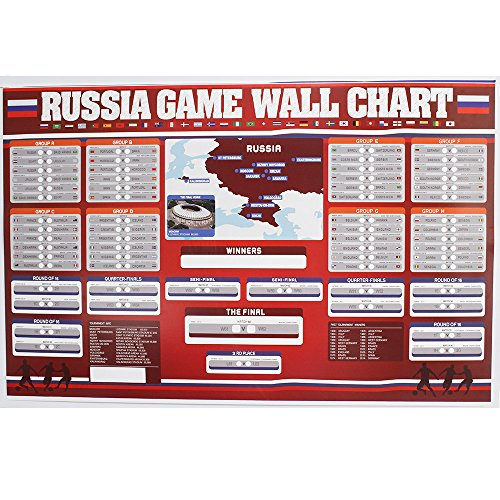 Luxury Art Paper Russia 2018 World Cup Wall Chart Poster (24 x 36 inches) - Luxury Poster