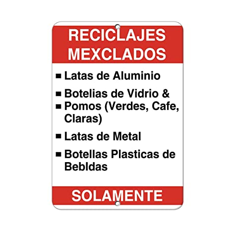 Recycling Mixed Aluminum Metal Cans Plastic Bottles Only Aluminum METAL Sign 9 in x 12 in