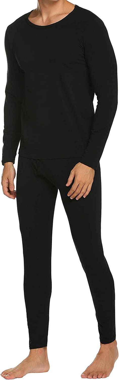 Ekouaer Men's Thermal Underwear Base Layer Thermal Top & Bottom Long John Cotton Underwear Set