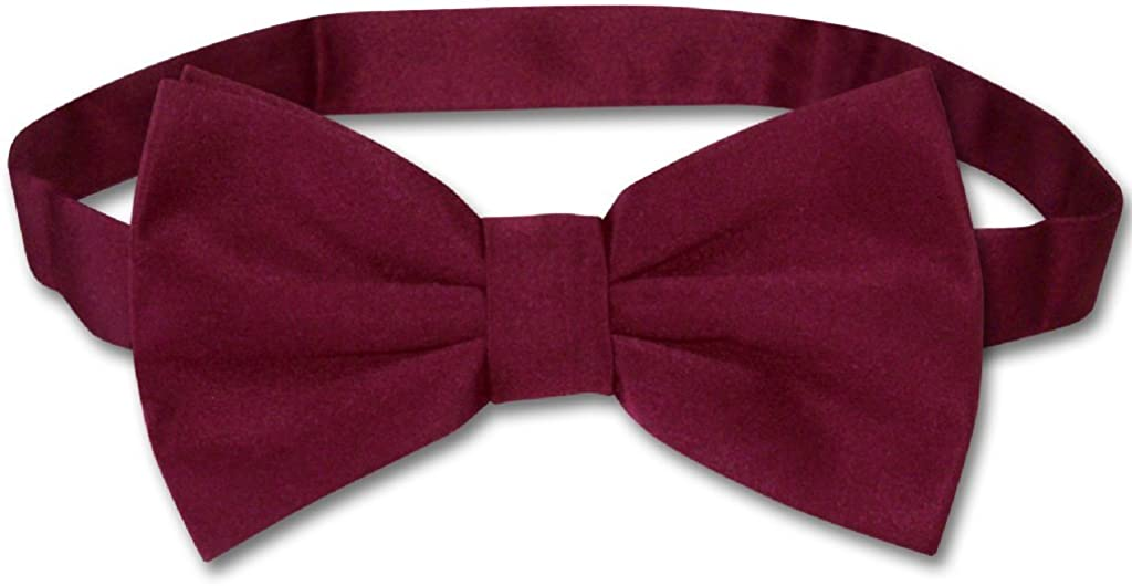 Mens Dress Vest /& Bowtie Solid Burgundy Color Bow Tie Set for Suit or Tuxedo