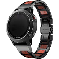 LDFAS Fenix 5X Plus Band, Natural Wood Red Sandalwood Stainless Steel Metal Watch Band, 26mm Quick Release Easy Fit Strap for Garmin Fenix 5X/5X Plus/3/3HR/Descent Mk1 Smartwatch