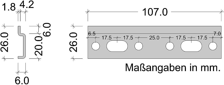 GedoTec Armadio appendiabiti-rail Aufhaengeschiene per Armadi a muro /& cucine mobili Lunghezza 107 mm Binario a parete Acciaio zincato molto stabile Armadio-rail regolabile in lunghezza per Pensile