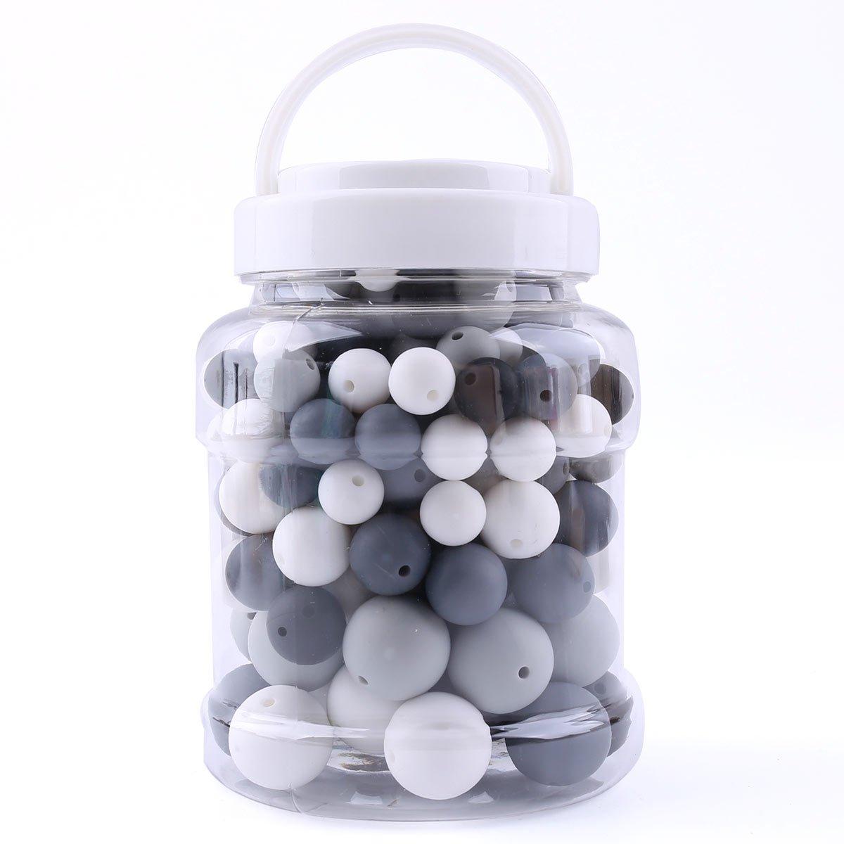 12-20mm baby tete Silikon Kinderkrankheiten Perlen Runde kaubare 200pcs DIY Halskette Armband Baby Schnullerkette Schmuck Komponenten Flasche BPA Frei Schwarz und Wei/ß