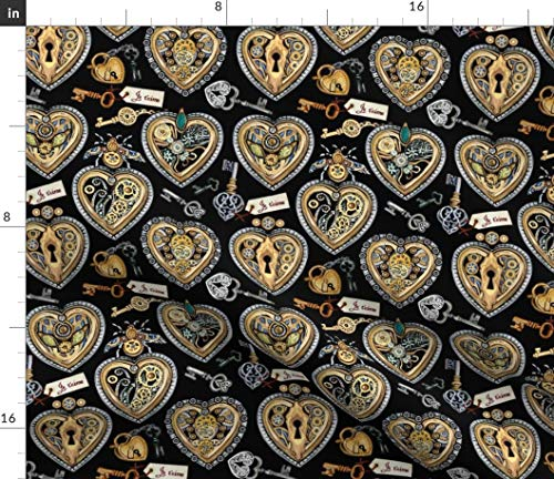 (Spoonflower Steampunk Fabric - Valentine Hearts Urban Threads Embroidery Clockwork Keys by Stitchyrichie Printed on Organic Cotton Knit Ultra Fabric by The Yard)