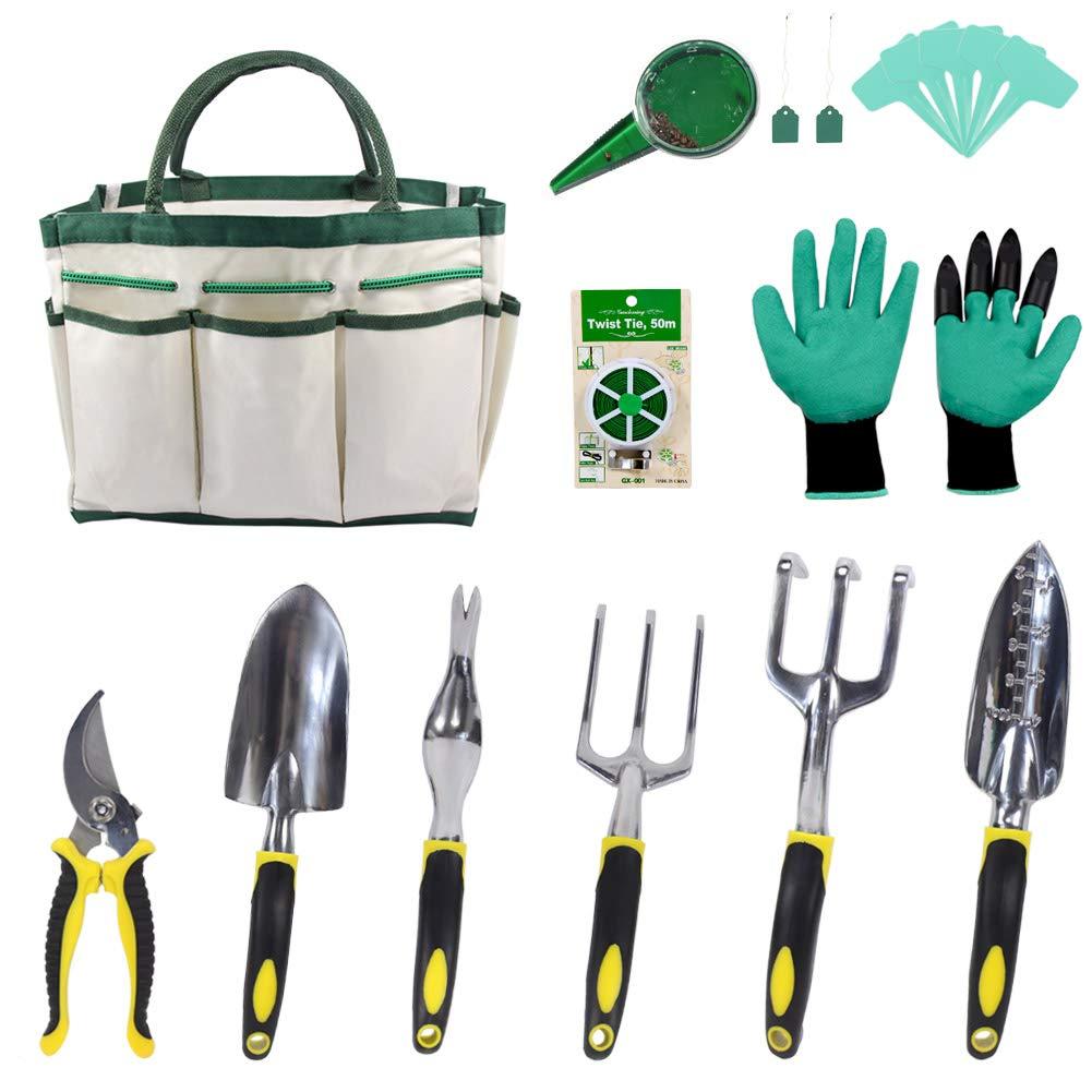 Croch Garden Tools Set - 12 Piece Gardening Gifts Tool Kit for Women & Men with 6 Hand Tools, Garden Storage Tote, Garden Gloves,Seeds Bag,Plant Labels,Garden Tie and Seeder Tool