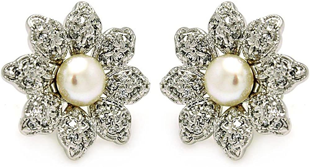 Synthetic Pearl Center Cubic Zirconia Inlay Flower Stud Earrings Rhodium Plated Sterling Silver