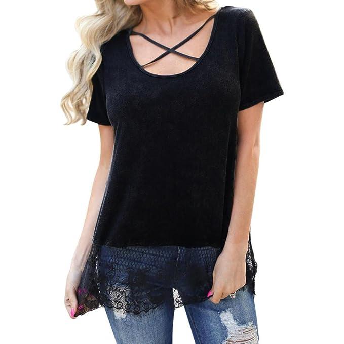 a7d4e8e9f36a T-Shirt Damen, Damen Kurzarm Shirt V-Ausschnitt Spitzenshirts Schwarze  T-Shirts