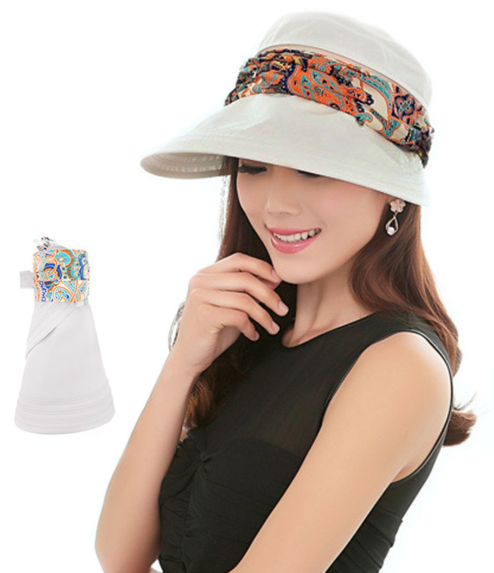 2-in-1 Folding Roll Up Wide Brim Sun Visor Cap UPF 50+ UV Protection Sun Hat  with Detachable Neck Protector Hood for Travel Holiday Beach Swimming  Cycling ... 9f36e970202