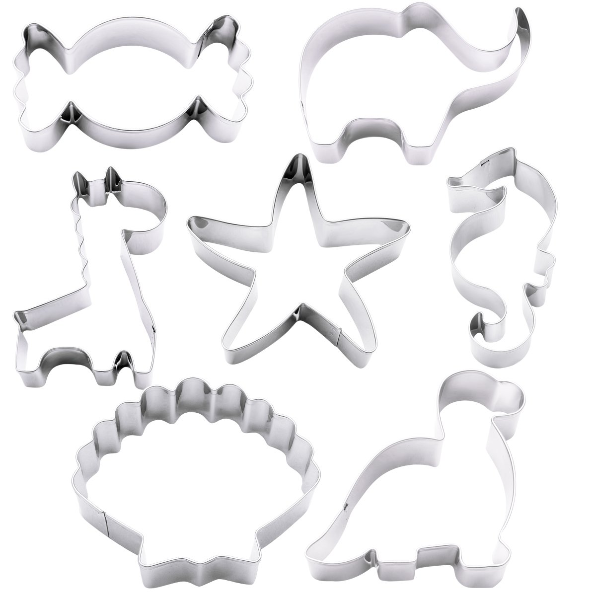 Cookie Cutter Mold Set, Amariver 7 Pack Stainless Steel Mini Animal Shape Metal Cookie Cutter, Fruit Cutter, Vegetable Cutter and Cake Cutter for Toddlers Baby Kids
