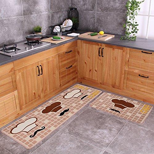 Carvapet 2 Piece Non-Slip Kitchen Mat Rubber Backing Doormat Runner Rug Set, Chef (19''x59''+19''x31'') by Carvapet