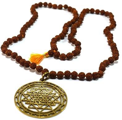 Amazon.com: Sri Yantra Pendant & Rudraksh Rosery Mala ...