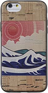 Cork Wood Case Compatible with iPhone by Reveal Shop - Natural Eco-Friendly Cork Leather w/Japanese Wood Block, Sunset Ocean Wave Print (7/8 Plus)
