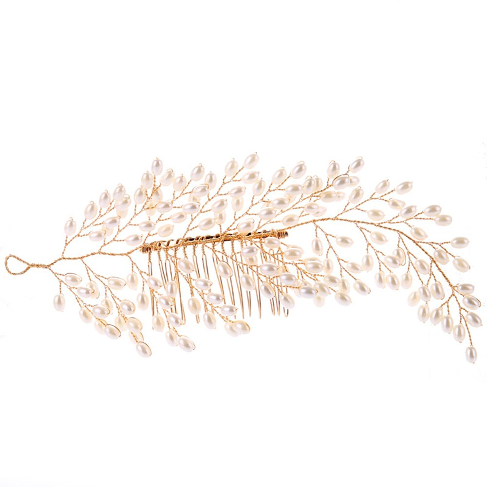 Handmade Bridal Pearl Hair Comb, Tree Leaves Styling Hairpin, Golden Wedding Dress Accessories Headdress Bridal Jewelry Eastever